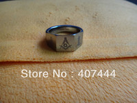 Amazone Étonnant Pas Cher-USA Hot Selling Amazing Small Price Wholesale Nouveau 100% 12MM MENS STAMP SILVER TUNGSTEN FREEMASON MASONIC RING q170717