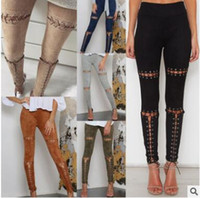 Barato Senhora Calças De Couro Falso Leggings-2017 Ladies High Waist Skinny Womens Rock Faux Suede Couro Lateral Lace Up Punk Bandage Clubwear Calças Leggings Lápis Calças 375