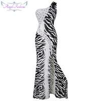 Wholesale Zebra Ball Dresses - Angel-fashions Women's One Shoulder Rhrinestone Zebra Print Bodycon Style Prom Dress Party Dress Ball Gown A-036BK