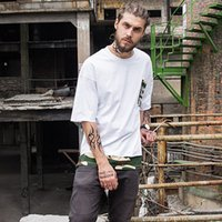 Men original fake tee - Street tide original fake two pieces of camouflage with loose tee shirt military camouflage wind pocket