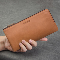Wholesale Leather Mobile Pouch Wallet - universal and multifunctional waxed leather pattern handmade leather case flip cover for mobile phone up to 6inch