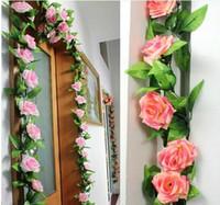 vides de flor artificial verde al por mayor-240 cm rosas de seda falsas flores artificiales de la vid de la hiedra con las hojas verdes para la decoración casera de la boda que cuelgan la decoración de la guirnalda