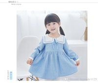 Wholesale Girl Strips Dress - new arrivals girl kids dress school style Long Sleeve big turn down collar 100% cotton dress charming elegant stripped print dress 2 colors