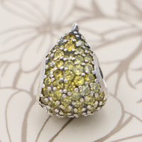 Wholesale Pear Glass Crystal Beads - Authentic 925 Sterling Silver Bead Charm Pave Whimsical Pear With Full Crystal Beads Fit Pandora Bracelet Bangle DIY Jewelry