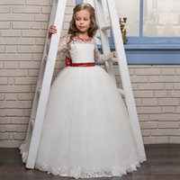 Wholesale Pictures Blue Pagent Dresses - 2017 White Flower Girl Dresses Girls Weddings First Communion Pagent Party Gown