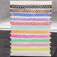 Wholesale Rainbow Chokers - Mix 12 colors 12 Pcs pack Tattoo rainbow chokers Necklace Vintage Stretch Quarz Elastic Henna Gothic Punk Elastic Women jewelry
