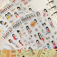 Wholesale Sweet Paper Doll - Wholesale- 6pcs lot New Paper Doll Korean Style Cute Kawaii Sweet Girl Planner Stickers For Notebook Paper Decoration Memo Pads