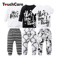 Wholesale Soft Girl Prints T Shirt - Wholesale- 2PCS Newborn Cute Cotton Baby Boy Girl Clothing Set Infant Letter Printed T-shirt+Pants Kids Clothes Soft Toddler Outfits