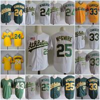 Wholesale Jerseys Baseball 33 - Mens #24 RICKEY HENDERSON 1989 WS Jersey Stitched 25 Mark Mcgwire 33 Jose Canseco 43 DENNIS ECKERSLEY throwback baseball Jerseys S-3XL