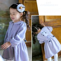 Wholesale Doll Dress Korean - Korean New Cute Baby Dress Children Clothes Girls Dresses Long Sleeve Pure Cotton Solid Big Collar Cat Embroidered Doll Light Blue A7203