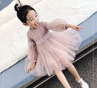 Wholesale Lace Knee Length Ruffle Layer - 2017 Spring New Girl Dress Puff Sleeve 3 Layer Gauze Lace Long Sleeve Princess Dress Children Clothing 3-10Y GZ001