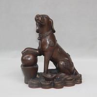 Wholesale art bronze sculpture - Chinese Folk Feng Shui Bronze Sculpture dutiful Gourdian Year Zodiac Dog wealth Statue home decoration