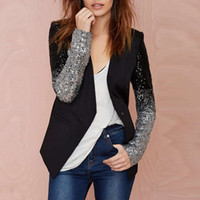 Wholesale Black Sequin Cardigan - Women Gradient Sequined Jacket Coats 2017 Spring Autumn Fashion Long Sleeve V Neck Black Silver Cardigan Work Blazer Plus Size 2XL 3XL
