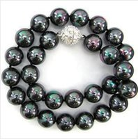 """Wholesale 18 Mm Shell Pearl - Free Shipping **About 8 mm black AB South Sea Shell Pearl Necklace """"AAA + 18"""""""