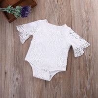 Wholesale White Bat Flower - INS baby flower lace Rompers Girl Cotton Onesies Solid white color Bat sleeve Kid clothing Newborn baby clothes 0-24Months brief Toddler