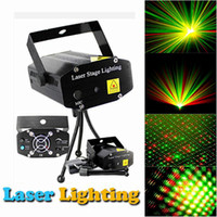 DHL Free Hot Black Mini Proiettore Red Green DJ Disco Light Stage Xmas Party Laser Lighting Show, LD-BK