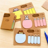 Wholesale Cute Mini Stationery - Wholesale- 2017 Cute Novelty Kawaii Animal Pig Rabbit Bear Sheep Kraft Paper Mini Memo Pad Sticky Notes Bookmark Gift Stationery Planner