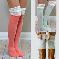 Wholesale Cuffed Boots - Women Knitted Stockings Ladies Spring Autumn Warm Socks Crochet High Knee Socks Long Boot Cuffs leg warmers 9colors