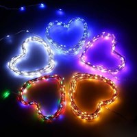 Wholesale Wire Decorating - 2M 3M 5M RGBW Pink Purple Yellow Multiple Color Sliver Wire Fairy LED String Battery Decorate Light For Home Wedding Party