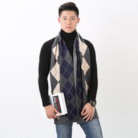 Wholesale Warm Cashmere Scarf Mens - 2017 winter Mens British style warm cashmere scarf authentic Plaid Scarf business men thickening