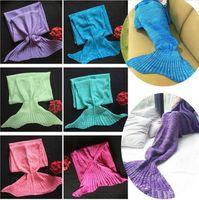 Wholesale Fishing Bags - Newest Adult Blankets Mermaid Blankets Keep warm Tail Fish Blankets Women Sleeping Bag Bedding Warm Soft Handmade Knitted Sofa Blanket 4624