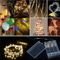 Wholesale Heart Strip Curtains - DHL 2M 3M 4M 5M Party Christmas led Battery Power Operated copper wire(with silver color) String strips Christmas light Lamp