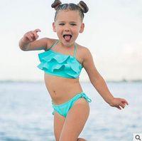 Wholesale Dot Split Swimwear - Ins Children bikini swimsuits falbala swimwear 2pcs sets for girls split swimwear children spa beachwear girls bathing suits T2612