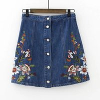 Wholesale Words Way - Spain Espana 2017 Embroidered restoring ancient ways female summer hot Skirts Flower embroidery A word skirt bust package buttocks