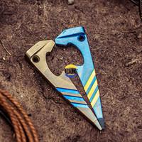 mavi şişe kolye toptan satış-Açık Ti EDC Titanyum TC4 Şişe açacağı mavi Altın Kolye kolye anahtar kolye tornavida Açık Cep Çok Araçları