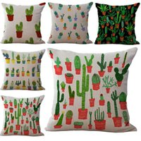 Wholesale Plant Pot Covers - Cactus Prickly Pear Potted Plant Pillow Case Cushion cover Linen Cotton Throw Pillowcases sofa Bed Pillow covers Drop shipping PW421