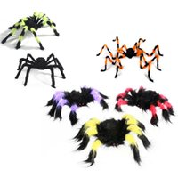 Wholesale Decoration Spider - Wholesale- 75cm Large Size Plush Spider Made of Wire Plush Funny Toy for Party Bar KTV Halloween Decoration @ZJF