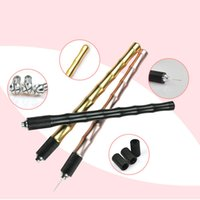 Wholesale Permanent Lip Pencil - New Manual Tattoo Pen Needles Blades Holder Permanent Makeup Eyebrow Lip Body Make Up Bamboo Style Handle Cross Tip Pencil 2017