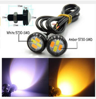 10Pair 23mm LED Eagle Eye 5730 4SMD Color Dualbackbackback WhiteAmber Vehículo DRL Lignt venta al por mayor