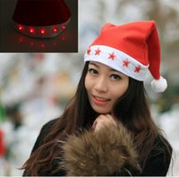 indoor christmas decoration lighted santa claus hats nonwoven red five star light cap santa claus