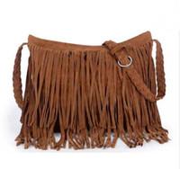 Wholesale camel suede handbag - Women Suede Weave Tassel Shoulder Messenger Bag Fashion Fringe Satchel Handbag Good Quality Hot Sale Purse