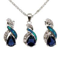 pingentes de safira azuis venda por atacado-925 Conjuntos de Jóias de Prata Esterlina Natural Opala Genuine Ocean Blue Sapphire 8 Design Pingente de Colar Brinco Presentes de Natal OPJS6