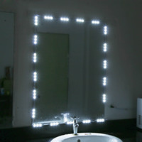 Wholesale Dimming Mirror - Wholesale- 5ft 10ft 12V LED White Dressing Mirror Lighting String Kit Cosmetic Makeup Vanity Mirror Light with Dimmer Power