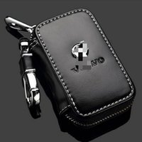 Wholesale Car Model Volvo - Genuine leather Volvo Key Case Key Bag Cover with Holder For All Volvo Car Model Auto fashion styling key Ring Bag Car Accessories