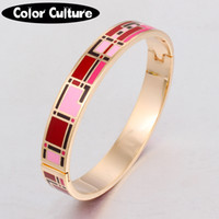Wholesale enamel jewelry stainless steel resale online - Vintage Jewelry Color Design Opening Bracelet Bangle For Women Stainless Steel Enamel Jewelry Pattern Gold Birthday Gift