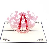Wholesale Wedding Invitations Couple - 10pcs lot Creative Lover Couples 3D Pop UP Card Kirigami & Origami Valentine's Greeting&Gift Cards Wedding Invitations