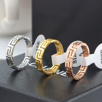 Wholesale Great Wall Gift - Promotion High Quality Lovers Rings 18K Rose Gold Charms 316L Stainless Steel The Great Wall Wedding Rings Jewelry Free Shipping