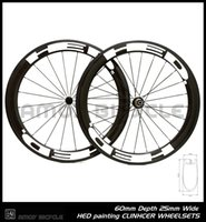 Wholesale Carbon Road Bike Wheels 25mm - Free shipping 25mm width HED paint 60mm carbon wheelset full carbon 700C road bike bicycle wheelswheels