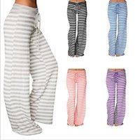 Wholesale Wide Leg High Waist Wholesale - Wide Leg Pants Yoga Fitness Capris Women Casual Stripe Flare Pants Palazzo Trousers Fashion Harem Pants Lady Casual Loose Long Bloomers 2740