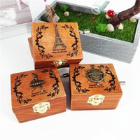 Wholesale musical beautiful - Exquisite Woodiness Hand Crank Musical Box High Grade Home Furnishing Different Patterns For Option Beautiful Decorate Hot Sale 13lz J