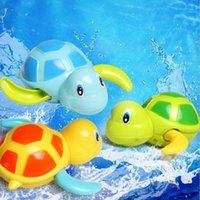 Wholesale Baby Tortoise - kids bathing toys Newborn Cute Tortoise Baby Bath Toy Infant Swim Turtle Chain Clockwork Classic Toys infant Educational water fun Toys