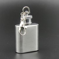 1oz de aço inoxidável Mini Hip Flask Keychain Design Garrafa de vinho portátil Whisky Liquor Alcohol Pocket Hip Flask for Outdoor Party Oil Bottle