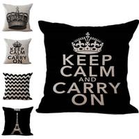 ingrosso gettare cuscini corona-Mantieni la calma e portare avanti corona federa cuscino in lino cotone tiro federe divano letto cuscino copre il trasporto di goccia pw444