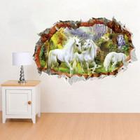 papier de décalcomanie libre de pvc achat en gros de-Fenêtre 3D Art Mural Stickers Muraux Cheval Blanc forêt décoration murale Papier Affiche Voir Fenêtre Decal livraison gratuite