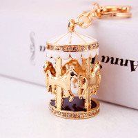 Wholesale Rhinestone Alloy Animals Keychains - Carousel Pendant Car Key Rings Pendant Fashion Keychains Full Gem Crystal Key Chains Animal Keyrings Luxury Gifts Freeshipping