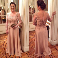 Wholesale Long Sleeves Wedding Mother - 2017 Vintage Mother Of The Bride Dresses Long Sleeves Lace Appliques Flowers Illusion Satin Plus Size Evening Dress Wedding Guest Dress
